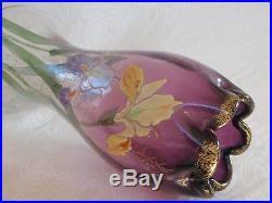 Legras, Splendide Vase Bicolore Emaille Violet Floral Iris