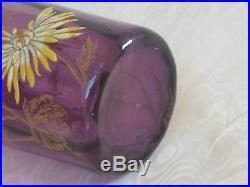 Legras, Splendide Vase Emaille Violet Decor Floral