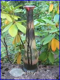 Legras Superbe grand vase soliflore en verre émaillé décor de paysage lacustre