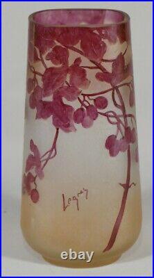 Legras, Vase Rubis Hauteur 20 Cm En Verre Dégagé à l'Acide Vers 1900