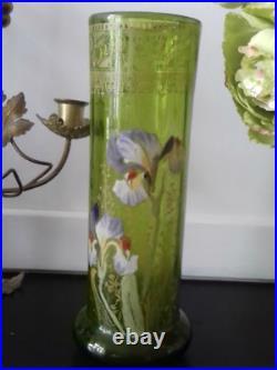 Legras Vase émaillé d'iris Répertorié Hauteur 27 cm