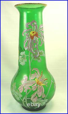 Legras grand et beau vase à décor émaillé floral polychrome, 36 cm, parfait état