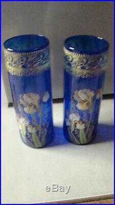 Legras paire de vases emaillés decors iris