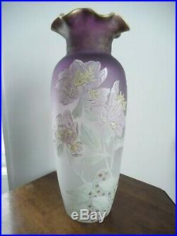 Legras, rare, grand vase émaillé floral, bicolore blanc à violet, hauteur 53 cm