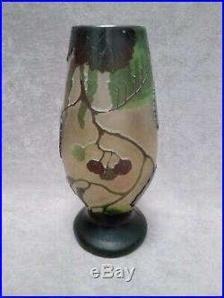 Legras vase Art Nouveau signé dégagé acide