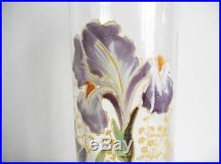 Legras, vase art nouveau émaillé aux iris