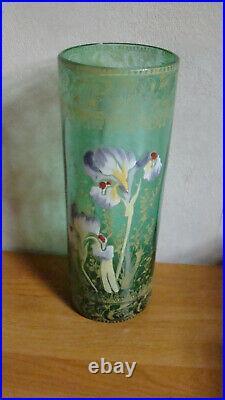 Legras vase emaillé iris
