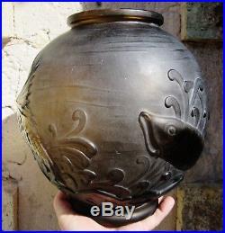 Lorrain d'avesnVerrerie belle étoile Daum Gros vase carpes Japonaises