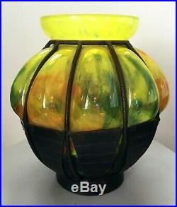 Lorrain ecole de Nancy Daum vase pate de verre et fer forgé Art Déco