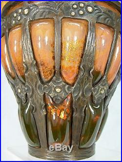 Louis Majorelle Daum Nancy Superbe Vase Art Deco Verre Marmoreen Mont. Fer Forge