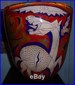 Loumani frères superbe vase verre soufflé Guernica Picasso daté 1996