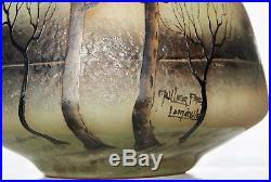 MULLER FRÈRES LUNÉVILLE Rare Vase en Pâte de Verre GRAVÉ ET ÉMAILLÉ Art Déco1915