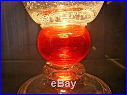MURANO vase art deco verre bullé col ourlet teinté rouge-schneider, daum, biot