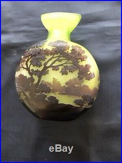 Magnifique Authentique Vase Gourde Pâte de Verre Emile Gallé Nancy 1900. C