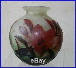 Magnifique Vase Boule, Pte De Verre Multicouche, Couleurs Rares Signé Muller