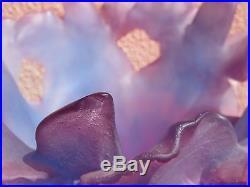 Magnifique Vase Daum Aux Iris Bleu Violet Tres Rare! 5 Kgs (galle)