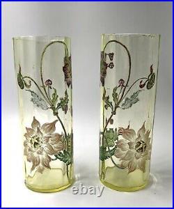 Magnifique paire de vases verre émaillé Art-Nouveau LEGRAS XIX 19TH 1900
