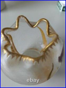 Montjoye/Legras Vase verre givré doré et dégagé à l'acide