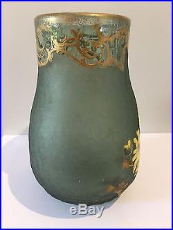 Montjoye Legras, vase en verre dégagé à l'acide givré et émaillé, Victor Saglier