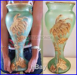 Montjoye Vase Exptionnel Verre Givré Vert Decor Fleuri De Grands Tokyo Emaillées