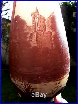 Monumental vase Richard pour Loetz, 56 cm, chateau, era daum galle devez 1920