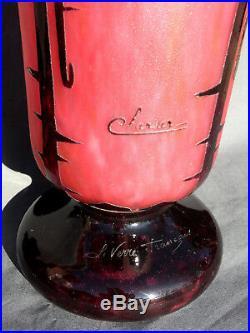 Monumental vase Schneider le verre francais, era daum galle, 52 cm, 6.4kg