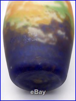 Müller frères Lunéville vase signé en pâte de verre décor nuage Art déco