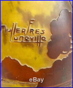 Muller freres luneville Vase Au Paysage Lacustre En Pate De Verre, Art Nouveau