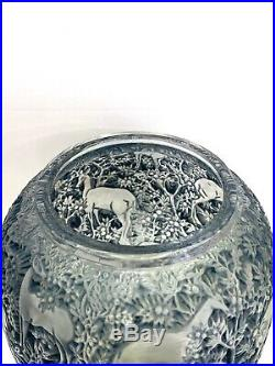 Original Vase Biches Bleu René Lalique Blue Stained Glass R. Lalique Deers Does