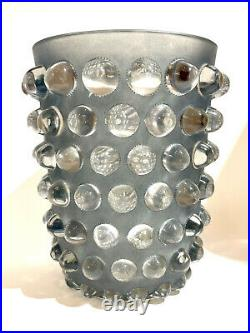 Original Vase Mossi Patiné Bleu René Lalique R. Lalique Blue Stained Glass