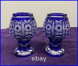 Paire De Vase Cristal Double Couleur Bleu Pierrerie Diamant Saint Louis Baccarat