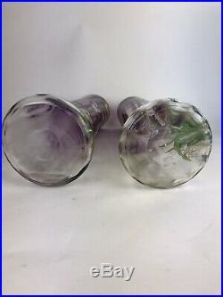 Paire De Vases Émaillés Decor Floral Manufacture Legras St Denis Art Nouveau
