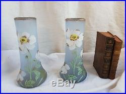 Paire De Vases Emailles En Verre Depoli