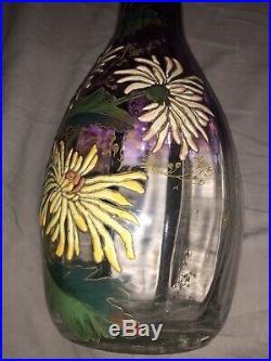 Paire De Vases Emaillés LEGRAS 1900 Cristallerie Gallé Art Nouveau Jungendstill