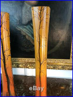 Paire De Vases Legras De 40 CM De Haut A Decor Paysage De Neige Des Années 1900