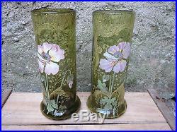 Paire d'anciens vase en verre émaillé Art Nouveau decor fleurs