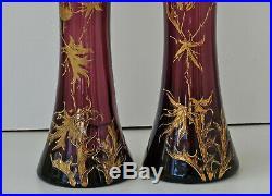 Paire de Vases Art-Nouveau Verre Améthyste Emaillé Chardons Or Jugendstil 1900