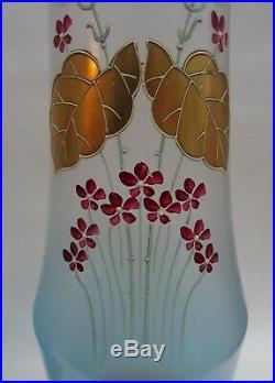 Paire de grand vase émaillée art nouveau 40 cm