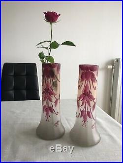 Paire de vases Francois Theodore Legras Rubis non Gallè Lalique Daum