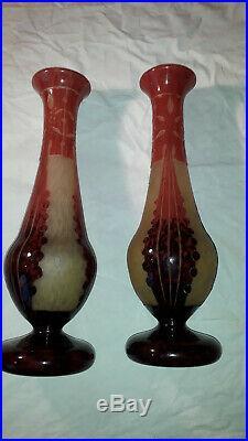 Paire de vases Le Verre Français modèle Amarantes