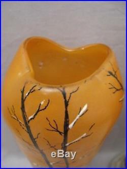 Paire de vases d'après Legras en verre émaillé époque début XX ème siècle