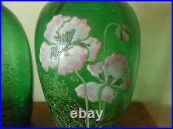 Paire de vases en verre émaillé art nouveau Legras, Montjoye