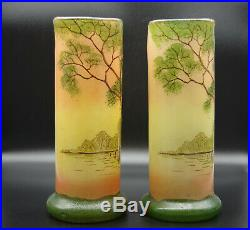 Paire de vases legras vers 1900 paysage lacustre voiliers 27 cm Toul -TBE