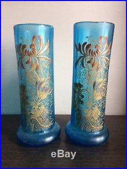 Paire de vases verre soufflé coloré bleu émaillé à décor floral Legras Montjoye