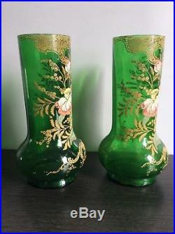 Paire de vases verre soufflé émaillé relief décor de pivoines Legras Montjoye