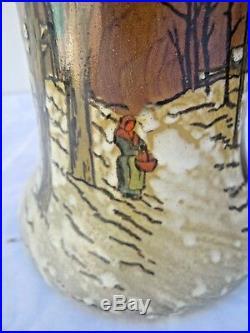 Paire vases Legras forme Belgrade paysage de neige Théodore Legras