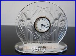 Pendule de table, horloge Lalique France en cristal modèle Iris
