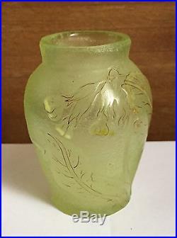 Petit Vase Gallé À Fond Givré Et Décor Émaillé