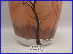 Petit vase en verre émaillé d'après Legras époque Art nouveau
