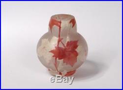 Petit vase miniature pâte de verre feuilles vigne Art Nouveau 5cm XIXème